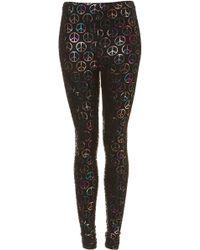 Topshop Multi Coloured Peace Leggings - Lyst