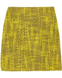 Alice + Olivia Bouclé Mini Skirt yellow - Lyst