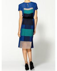 BCBGMAXAZRIA Pleat Dress blue - Lyst