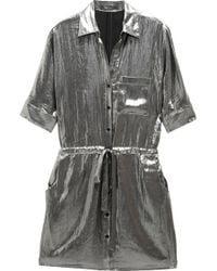 BCBGMAXAZRIA Metallic Shirt Dress - Lyst