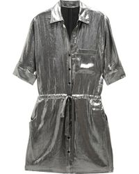 BCBGMAXAZRIA Metallic Shirt Dress silver - Lyst
