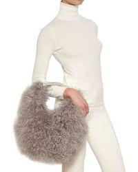 Blumarine - Metallic Leather Mongolian Fur Bag - Lyst
