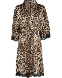 Dolce & Gabbana Leopardprint Stretchsilk Robe - Lyst