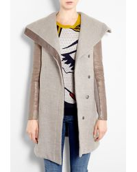 Helmut Lang Beige Leather Sleeve Wollowed Felt Coat - Lyst