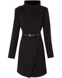 Kenneth Cole - Twill Belted Wool Coat - Lyst
