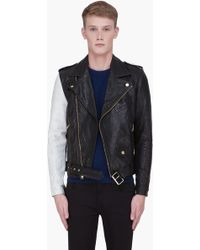 Marc Jacobs Contrast Leather Biker Jacket - Lyst