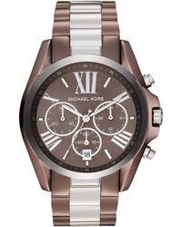 Michael Kors Womens Chronograph Bradshaw Espresso and Silver Tone Stainless Steel Bracelet 43mm - Lyst