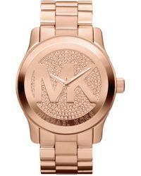Michael Kors Women'S Runway Rose Gold-Tone Stainless Steel Bracelet Watch 45Mm Mk5661 - Lyst