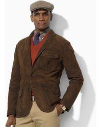 Polo ralph lauren Suede Sport Coat in Brown for Men | Lyst