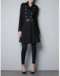 Zara Overcoat with Bellows Pocket and Belt - Lyst