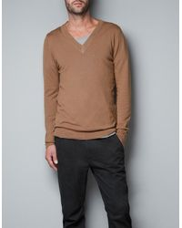 Zara Viscose Nylon Jersey Sweater - Lyst