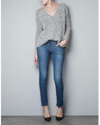 Zara Twist Knit Sweater with Lace - Lyst