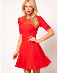 ASOS Collection Asos Skater Dress with Lace Insert - Lyst