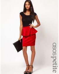 Asos Petite Exclusive Velvet Peplum Skirt - Lyst