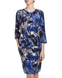BCBGMAXAZRIA Dominique Ikat-Print Dress blue - Lyst