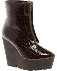 Cheap Monday Monolit Zip Front Croco Wedge Ankle Boots brown - Lyst