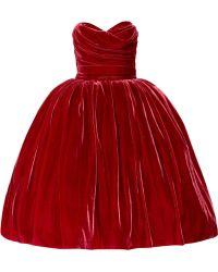 Dolce & Gabbana Strapless Velvet Dress red - Lyst