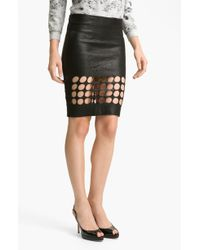 Kelly Wearstler Lounge Punched Out Leather Skirt black - Lyst