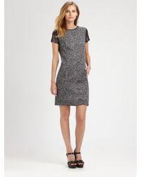MICHAEL Michael Kors Leathersleeve Tweed Dress - Lyst