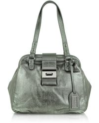 Badgley Mischka - Julia Metallic Leather Satchel Bag - Lyst