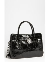 MICHAEL Michael Kors Hamilton Shiny Leather Satchel - Lyst