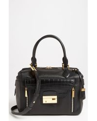 Michael Kors Gia Embossed Leather Satchel - Lyst