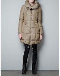 Zara Three Quarter Length Canvas Puffer Jacket - Lyst