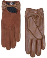 Mango Contrast Leather Suede Bow Gloves - Lyst