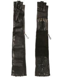 Sergio Rossi Stretch Leather Long Gloves black - Lyst