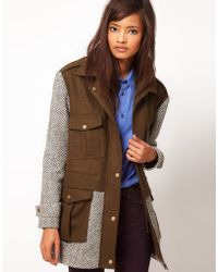 ASOS Collection Wool and Tweed Mix Parka Jacket - Lyst