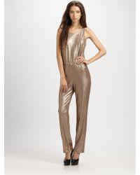 BCBGMAXAZRIA Gold Jumpsuit - Lyst