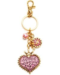 Betsey Johnson Pink Leopard Print Crown and Heart Key Chain - Lyst