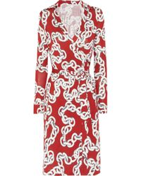 Diane von Furstenberg New Jeanne Printed Silk jersey Wrap Dress red - Lyst