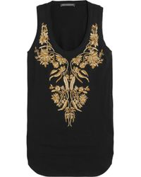 Alexander McQueen Embroidered Cotton Tank - Lyst
