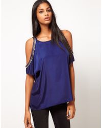 ASOS Collection Asos Top with Embellished Cut Out Shoulders - Lyst