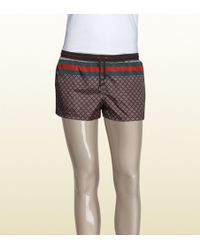 Gucci Web Detail Diamante Swim Shorts brown - Lyst