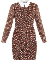 Carven Contrast Collar Tile Print Dress - Lyst