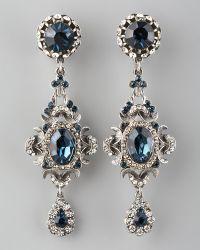 Jose & Maria Barrera Blue Crystal Clip Earrings - Lyst