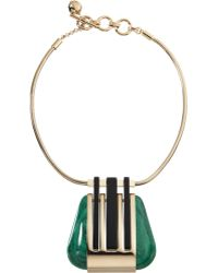 Lanvin Abstract Deco Triangle Pendant Necklace - Lyst