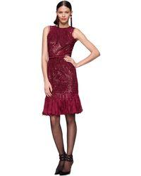 Oscar de la Renta Tulle Pailette Fringe Sleeveless Dress - Lyst