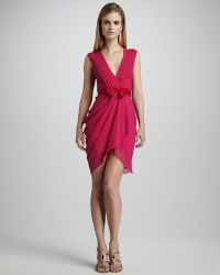 Vera Wang Lavender Draped Fitted Cocktail Dress - Lyst