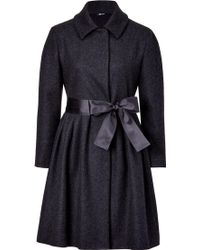 Jil Sander Navy Anthracite Three Quarter Wool Blend Coat with Satin Belt - Lyst