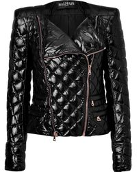 Balmain Black Quilted Down Jacket - Lyst