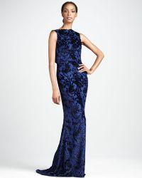 Badgley Mischka Burnout Velvet Gown - Lyst