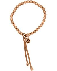 Michael Kors Collection Heritage Leather Beaded Stretch Bracelet - Lyst