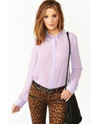 Nasty Gal Triangle Studded Blouse Lilac - Lyst