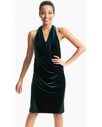 Aidan Mattox Surplice Velvet Satin Dress - Lyst