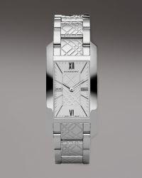 Burberry Watches Checkengraved Rectangular Watch Silvertone - Lyst