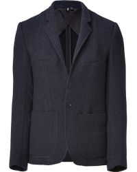 Edun | Navy Heather Bound Pocket Wool Twill Jacket | Lyst