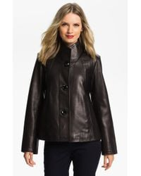 Ellen Tracy Button Up Leather Jacket - Lyst
